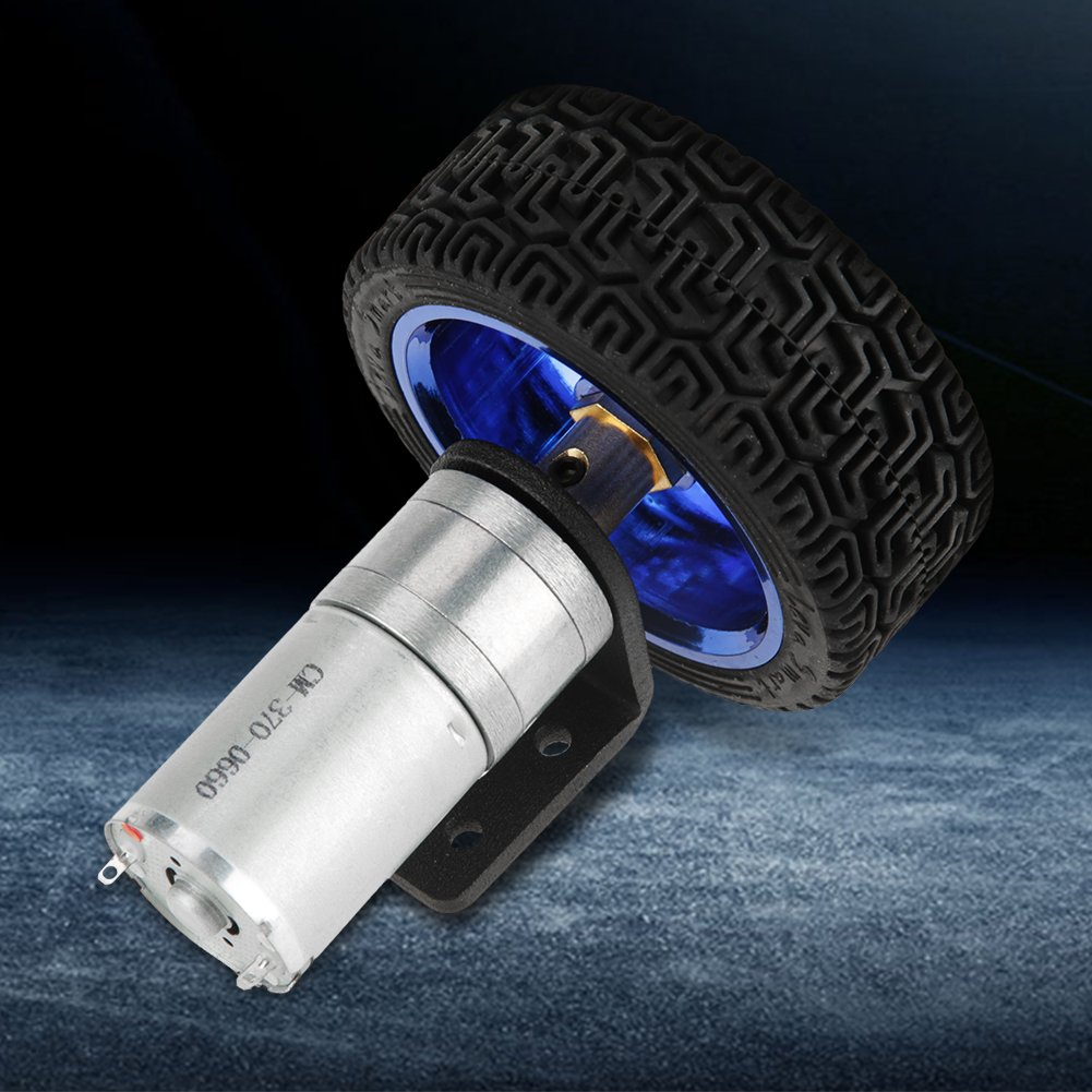 wifehelper DC 6V 280RPM 25GA370 Encoder Motor Set 4mm Shaft DC Gear Motor with Mounting Bracket 65mm Wheel Kits for Smart Car Robot DIY