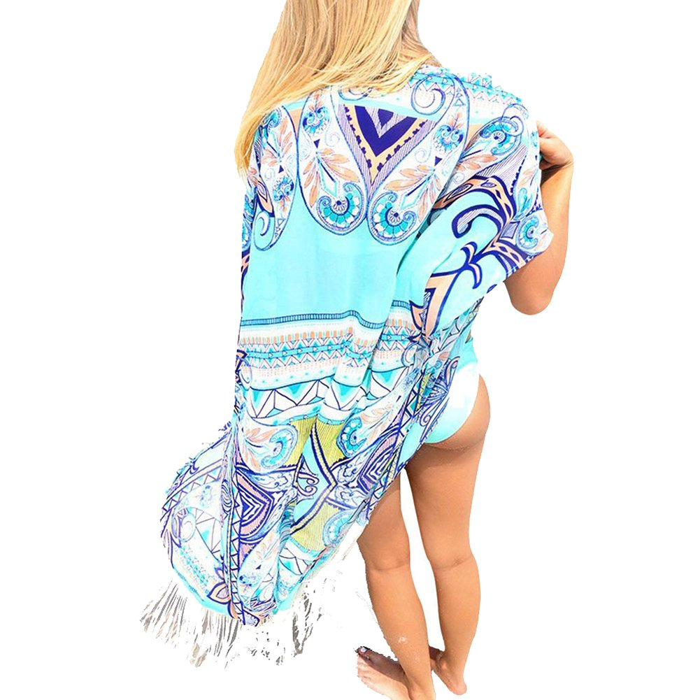 Vobaga Women's Tassel Beach Wear Kimono Cover up Swimwear Beachwear Y97-3