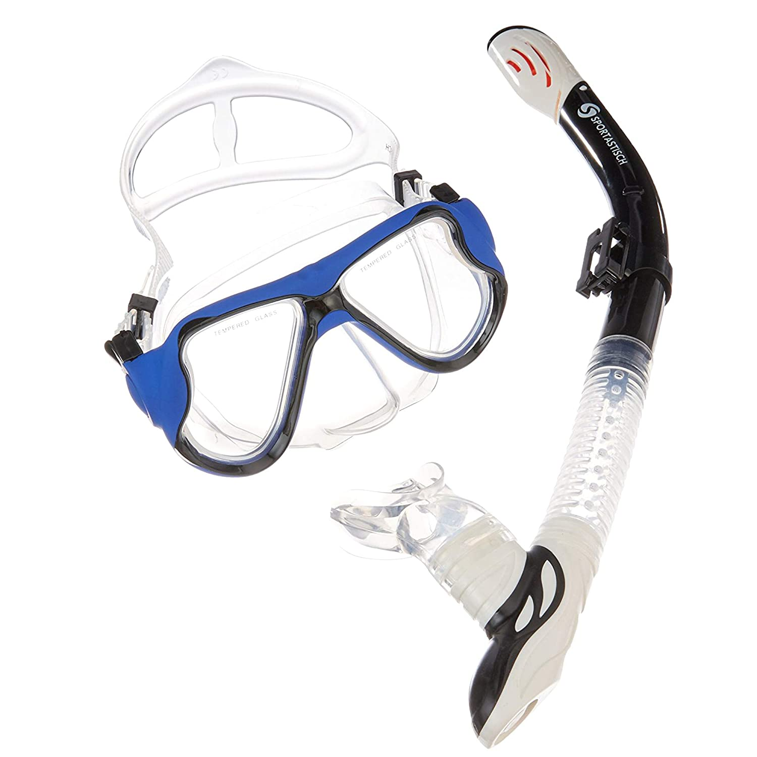'Comparison Winner: Professional Snorkel Star: Snorkel Set: Mask + Dry Snorkel + BAG:: Blue/White Unisex Adults and Children Over 10 Years: No Fin:: 3 Years Warranty Sportastisch