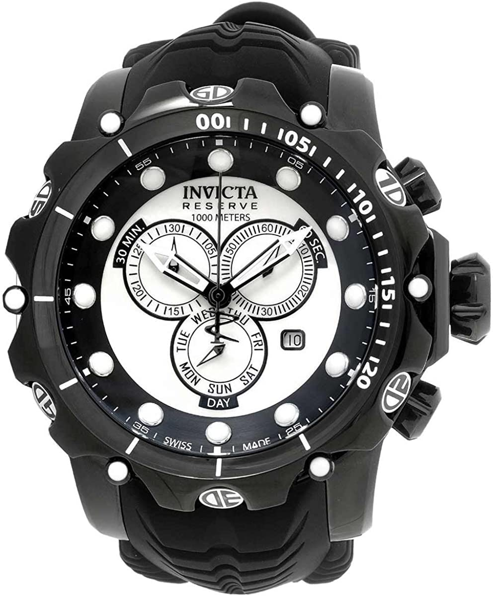 Invicta Men s Venom Swiss Quartz Stainless Steel and Silicone Watch, Color Black Model 20398