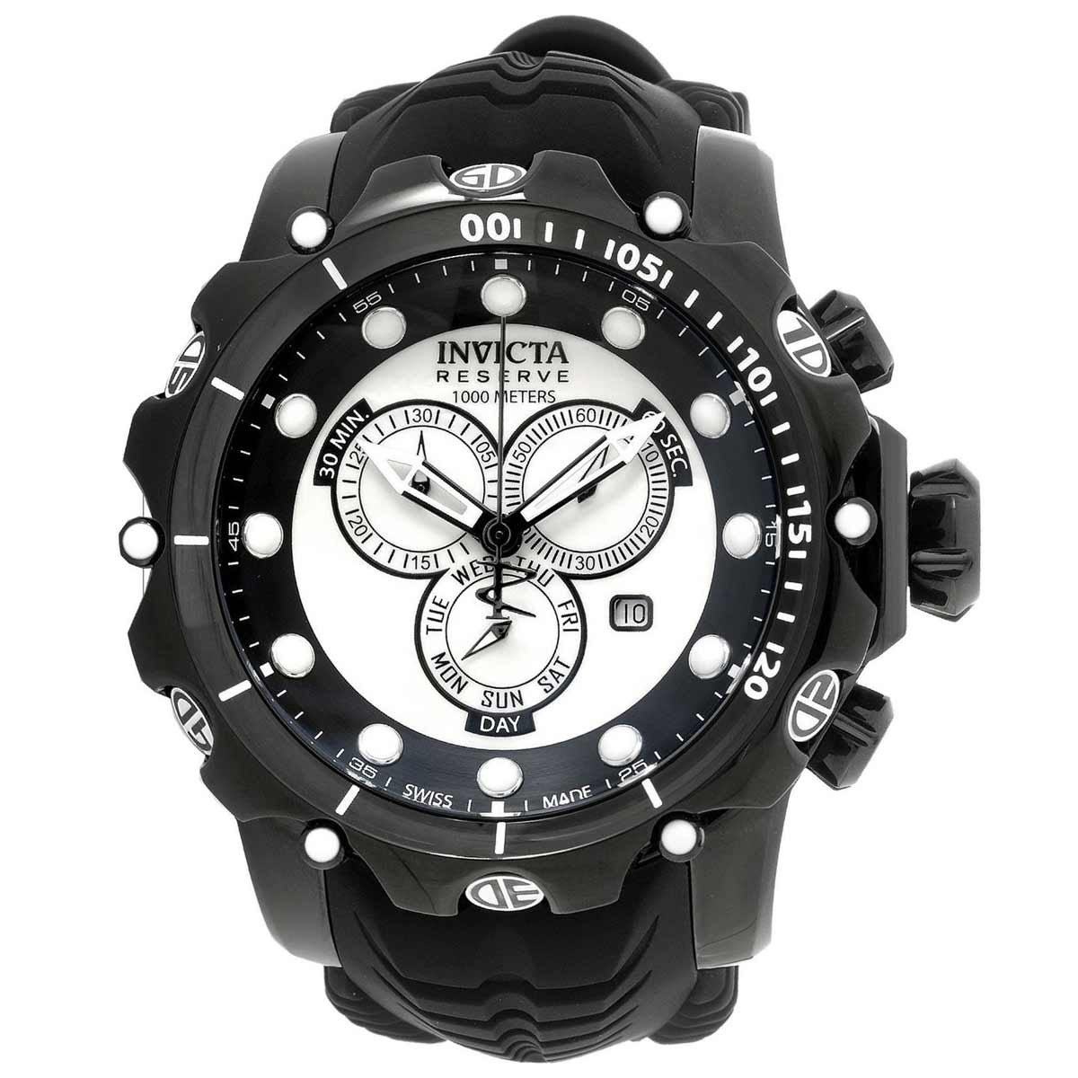 Invicta Men s Venom Swiss Quartz Stainless Steel and Silicone Watch, Color Black Model 20398