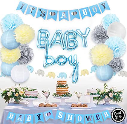 Baby Shower Boy Decoracion.Amazon Com Sweet Baby Co Boy Baby Shower Decorations For