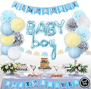 Sweet Baby Company Boy Baby Shower Decorations for Boy with Its A Boy Banner, Baby Boy Foil Blue Balloons, Party Lanterns, Paper Pom Poms, Elephant Garland, Table Backdrop Decor Supplies Kit for Boys