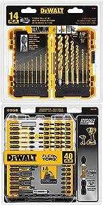 DEWALT DW1354 14-Piece Titanium Drill Bit Set, Yellow and DEWALT DWA2T40IR IMPACT READY FlexTorq Screw Driving Set, 40-Piece