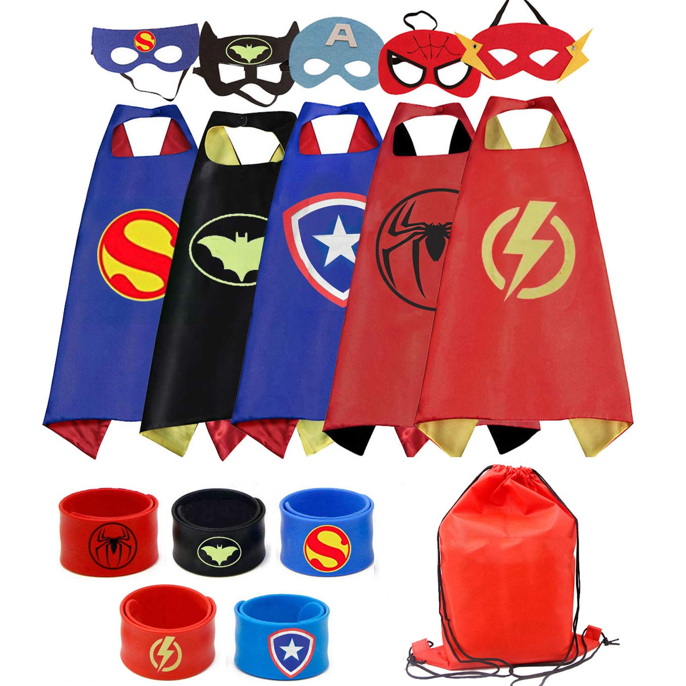 RioRand Dress Up Costumes Cartoon 5 Satin Capes Set With 5 Wristbands and 1 Carrying bag