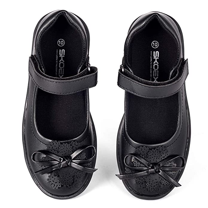 BALL BAND Girls Black Casual School Uniform Shoes Dress Mary Jane Flat Round-Toe Non-Marking