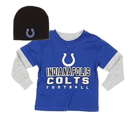 Outerstuff Indianapolis Colts NFL Kids Little Boys Long Sleeve Faux Layered  Shirt with Knit Beanie Hat d18786cbb