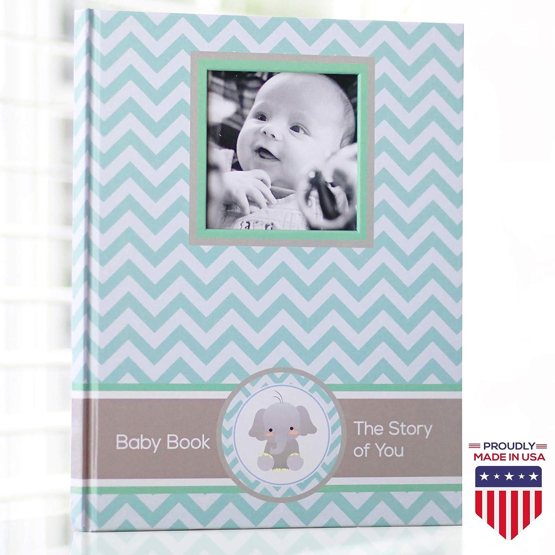 Baby Memory Book – Newborn Journal – Baby First Year Book Album – Baby Shower Book Gift – Baby Keepsake Milestone Memory Journal – First Year Newborn Baby Boy Girl Book Teal Blue