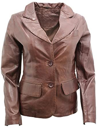 3b605677c5f6 Ladies Casual Brown Leather Blazer Jacket at Amazon Women's Coats Shop