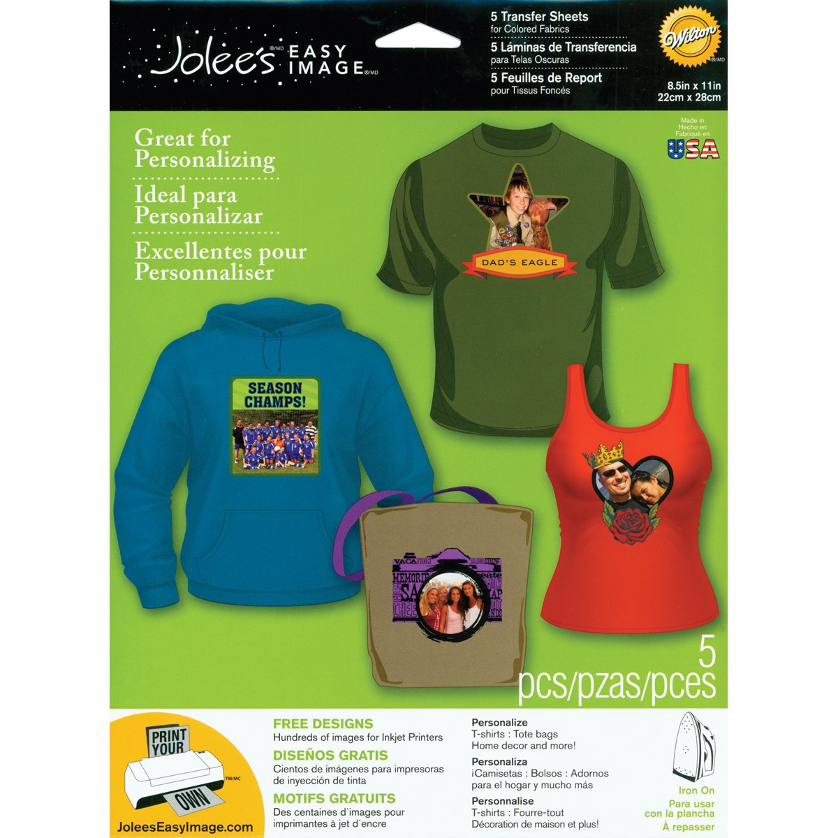 EK Success Brands Jolee's Boutique Easy Image Iron-on Transfer Paper, Colored Fabrics EKS 56-47008