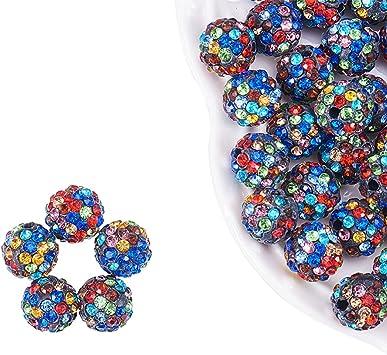 Shamballa Perlen Glasperlen Tonperlen 10 mm mit Strass Disco Ball Beads Polymer