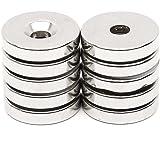5 tlg Starke Neodym Magnete N35 NdFeB Runder Supermagnete 15mm x 5mm Loch 5mm