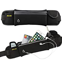 Lumbor37 Cangureras Deportiva Running Cinturón Fanny Bolsa Cintura Pack Bolsa para iPhone Teléfono Celular con Comodo Cinturon Elastico y Salida de Cable de Audifinos