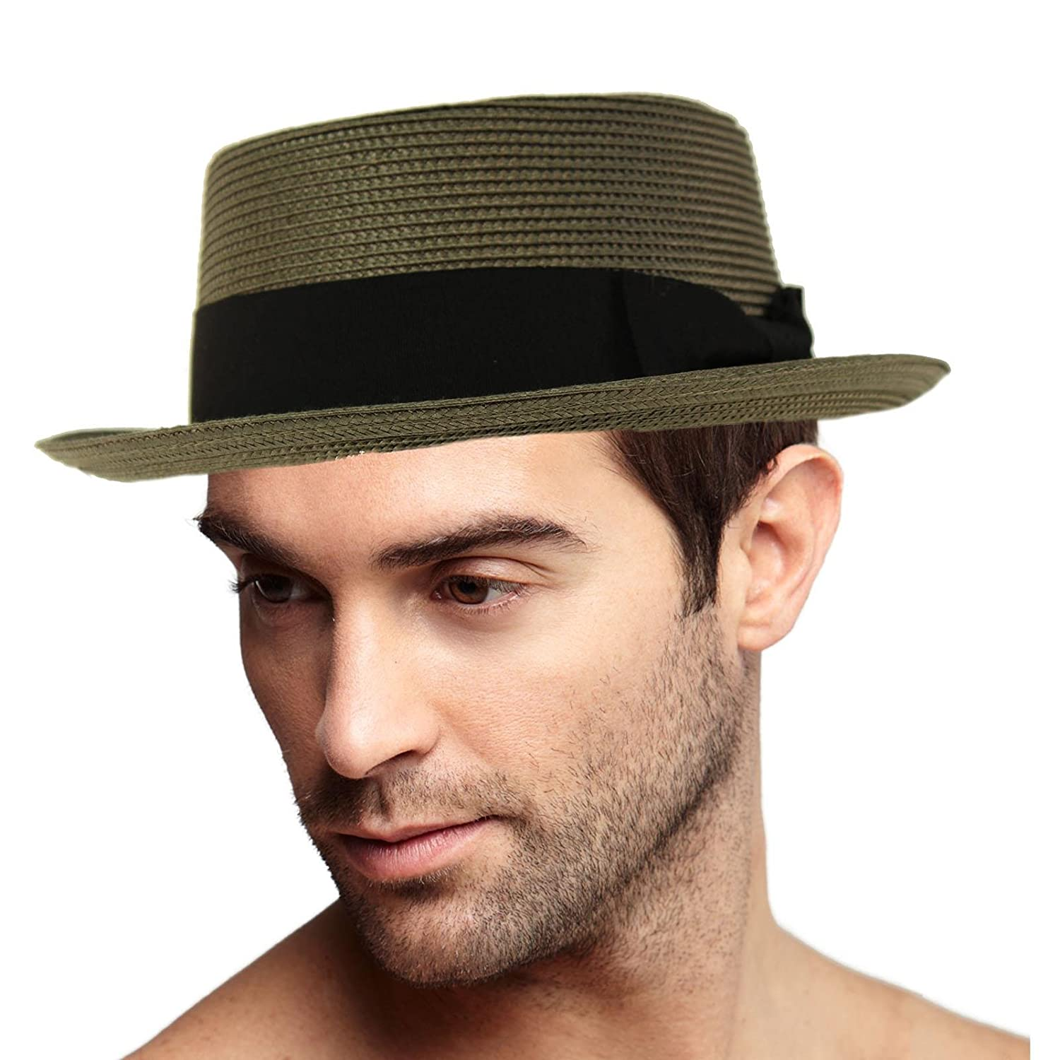 019c910faeb3e Epoch Men s Everyday Light Summer Ribbon Porkpie Boater Derby Fedora Sun Hat  at Amazon Men s Clothing store