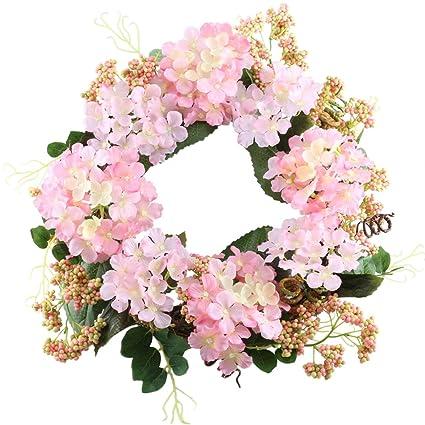 GTIDEA 17u0026quot; Spring Front Door Wreath Artificial Silk Hydrangea Garland  Wedding Wreath Home Wall Decorations