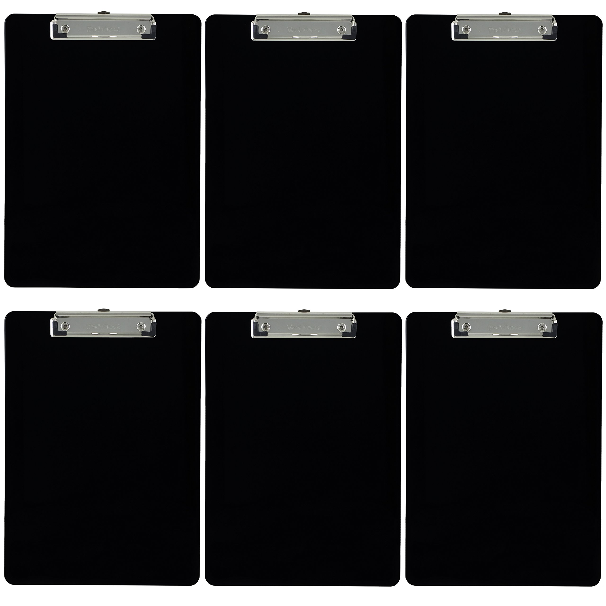 Trade Quest Plastic Clipboard Opaque Color Letter Size Low Profile Clip (Pack of 6) (Black)