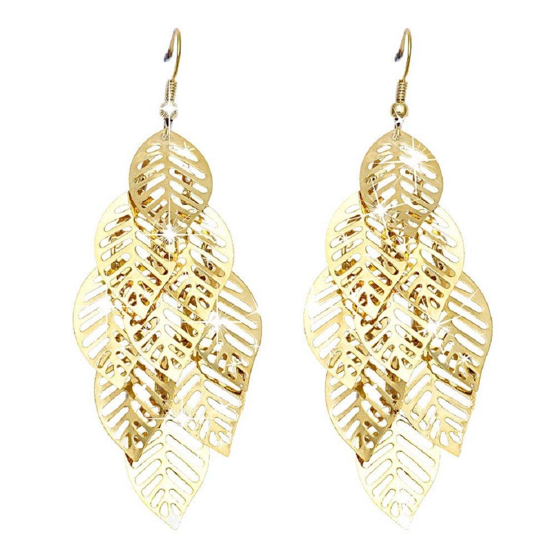 Ikevan 2017 New Women Bohemian Style Bracelet Retro Tassel Multilayer Leaves Earrings Gold