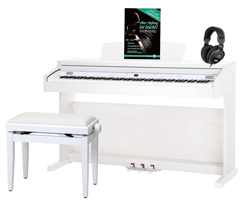 Classic Cantabile DP-50 WM piano, blanco mate, con banqueta, auriculares DP-50-WM-Set