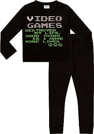 ThePyjamaFactory Cool Video Games Lives - Pijama largo para juegos de 9 a 16 años, color negro