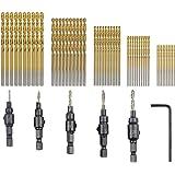 TOVOT 55 PCS HSS 4241 Countersink Cone Drill Bit Set and High Speed Steel HSS Titanium Twist Drill Bits (1 mm-3 mm)