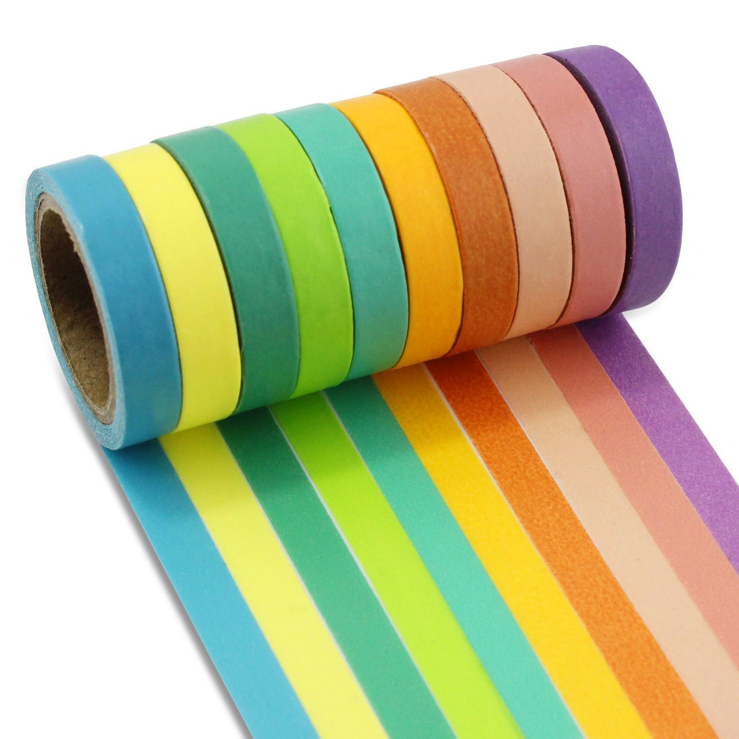 Ocr ® Decorative Washi Tape 10 Rolls DIY Rainbow Candy Color Sticky Masking Adhesive Tape Colorful Decorative Sticker