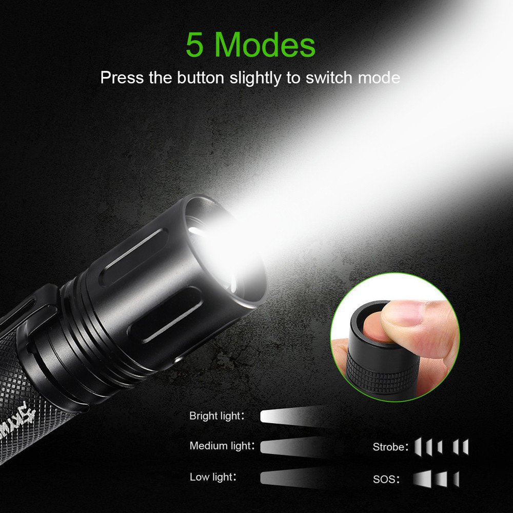 Zoombar Taktisches Taschenlampe, Siswong 10000LM Einstellbarer Fokus XM-L T6 LED 5 Modus Draussen Tragbar Militä r Jagd Flashlights Handlamp Laternen Stirnlampe