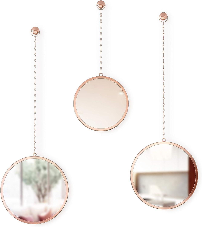 Umbra Dima, Copper, Set of 3, Trio of Decorative Mirrors Apartment Décor/Wall Art, Round