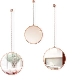 Umbra Dima, Copper, Set of 3, Trio of Decorative Mirrors Apartment Décor/Wall Art, Round