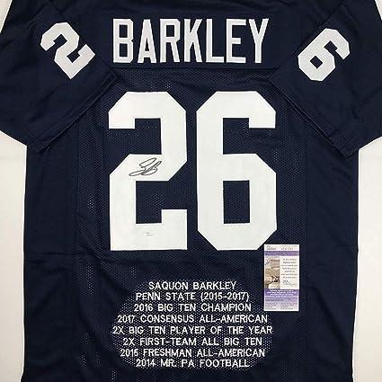 54da28d0de2 Autographed/Signed Saquon Barkley Penn State Blue Stat College Football Jersey  JSA COA