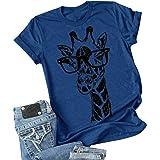 Auburet Womens Short Sleeve Funny Giraffe T Shirt Summer Casual Crewneck Graphic Printed Shirt Tops