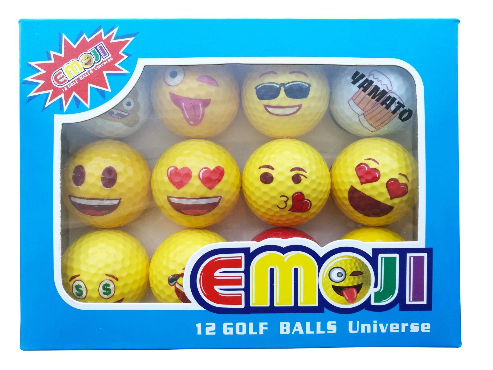 yamato Premium Emoji Golf Balls, 12 Pack Dual-Layer Novelty Professional Practice Golf Balls, Novelty Gift for All Golfers by yamato