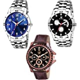 Rizzly Combo of 3 Metal-Leather Watch-for Men