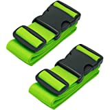 Luggage Straps Suitcase Belts Travel Accessories, 2-Pack, Green