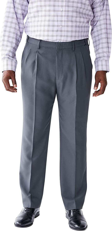 Big Charcoal Pindot 50 38 KS Signature by Kingsize Mens Big /& Tall Easy Movement Pleat-Front Expandable Dress Pants