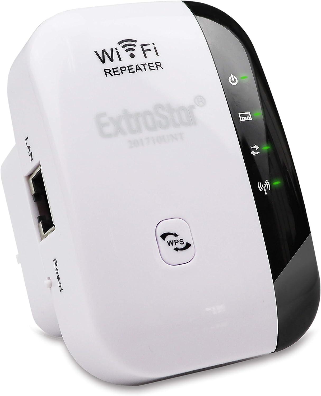 EXTRASTAR Repetidor de WiFi Extensor de Red WiFi Repeater Wireless Amplificador (2,4 GHz, 300 Mbps, Puerto Fast Ethernet, WPS, Modo Ap Punto Acceso y ...