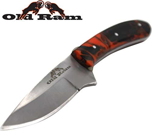 Old Ram Collection Heavy Duty Durable Fixed Blade Hunting Skinner Knife w. Leather Sheath