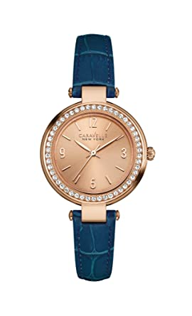 7d7791143ac3f Image Unavailable. Image not available for. Color  Caravelle New York  44L178 Rose Gold Blue Leather Strap Ladies Watch