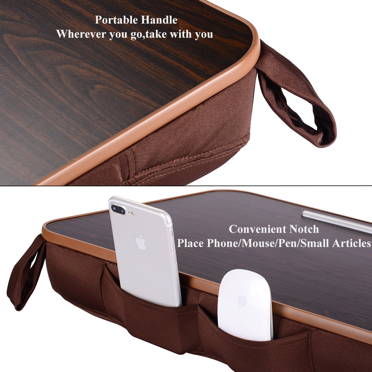 Laptop Desk Portable Nnewvante Multi-function Cushion Computer Lap Stand, Writing Reading Knee Pad, Macbook iPad Tablet Fits up to 18in, Portable Hand Pillow, Square Walnut