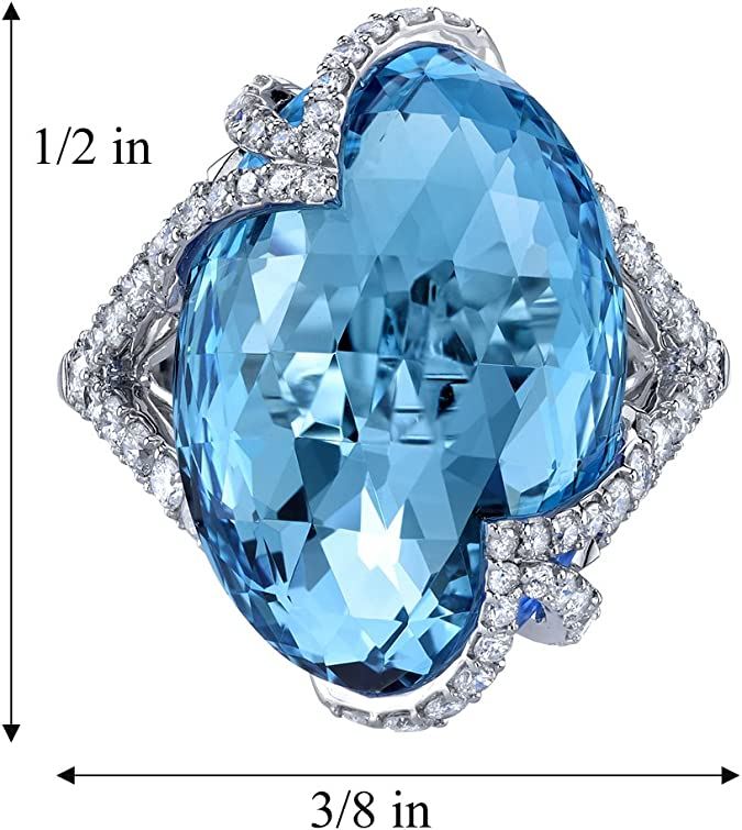 Swiss Blue Topaz Ring in 14k Gold IGI Certified Diamond Studded Ring Birthstone Jewelry Minimalist Engagement Ring Easter/'s Day Gift