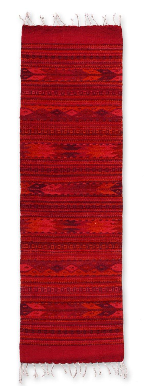 NOVICA Red Wool Geometric Area Rug (1.5' x 5') 'Zapotec Garnet'