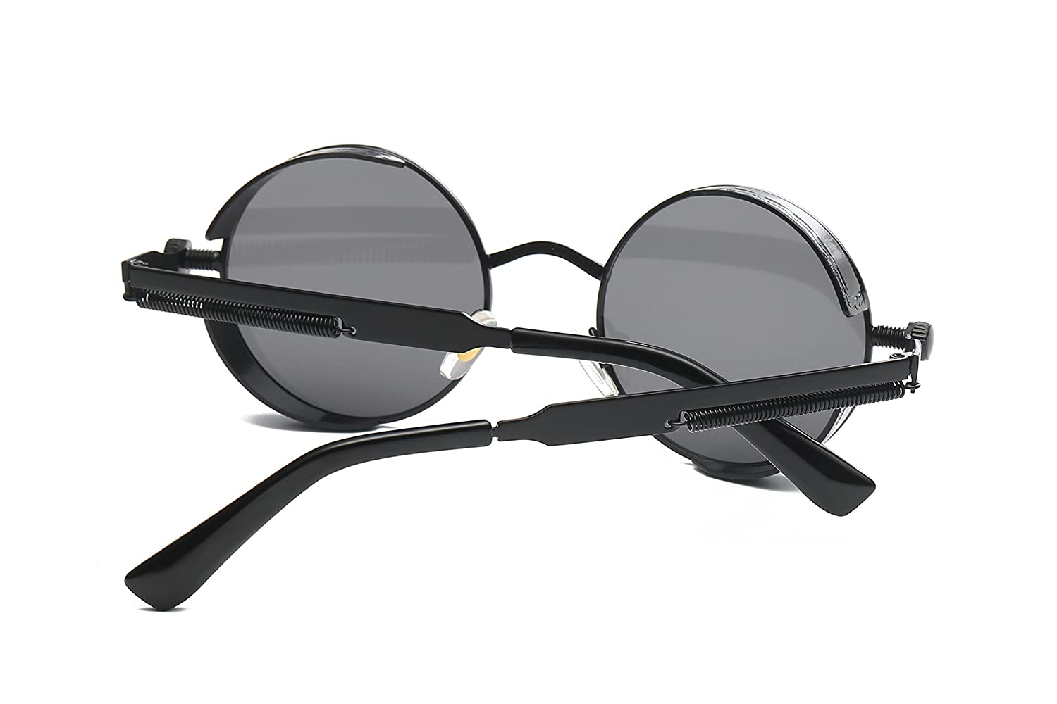 6c581fe9d35 Amazon.com  Dollger Gothic Steampunk Black Round Glasses Metal Frame  Sunglasses  Clothing