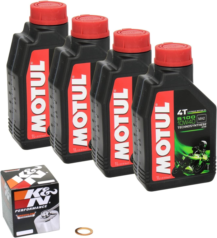 Motul 5100 10w 40 Ölwechsel Set Honda Cb 600 F Hornet Bj 03 06 Motoröl K N Chrom Ölfilter Und Dichtring Auto