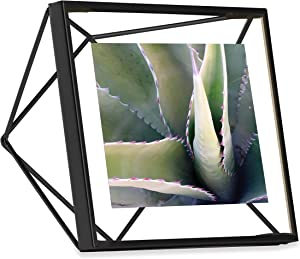 Umbra Prisma Picture Frame, 4x4 Photo Display for Desk or Wall, Black