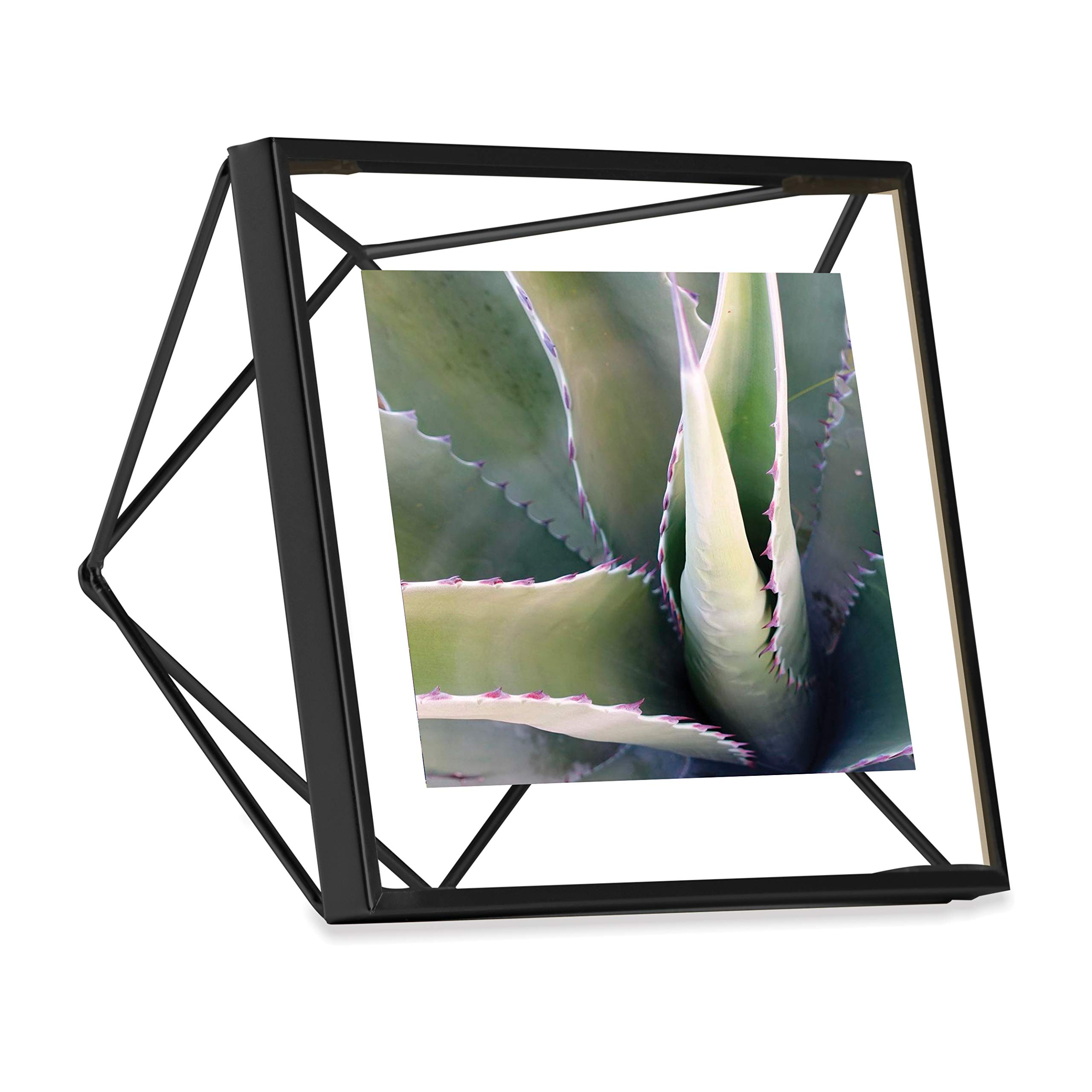 Umbra Prisma Picture Frame, 4x4 Photo Display for Desk or Wall, Black by Umbra