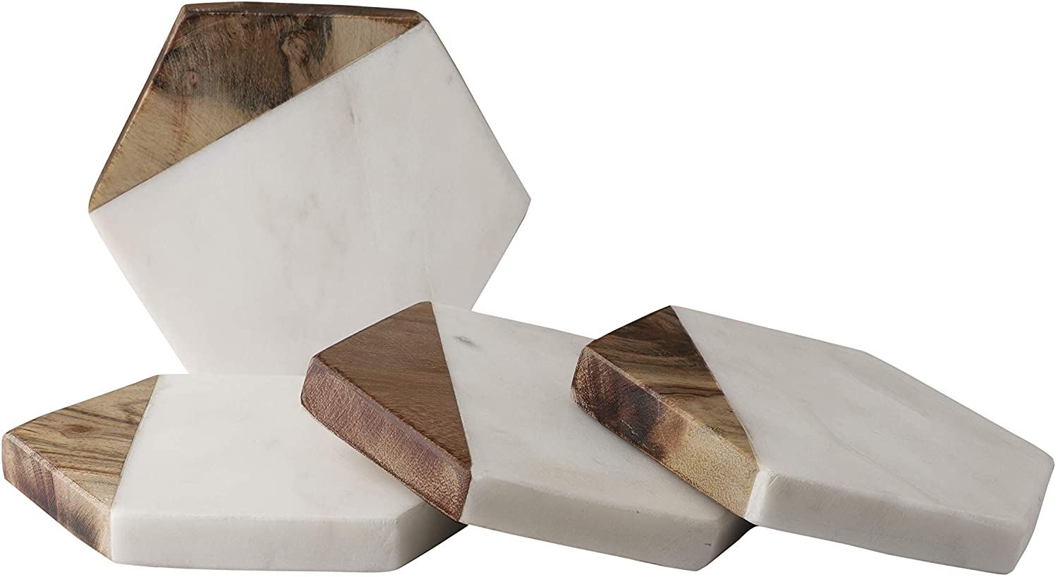 GoCraft Marble & Wood Coasters | Handcrafted Geometric White Marble Coasters with Mango Wood for your Drinks, Beverages & Wine/Bar Glasses (Set of 4)