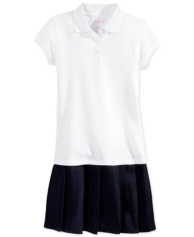 Nautica Girls' Uniform Pleated Polo Dress (Large, White)