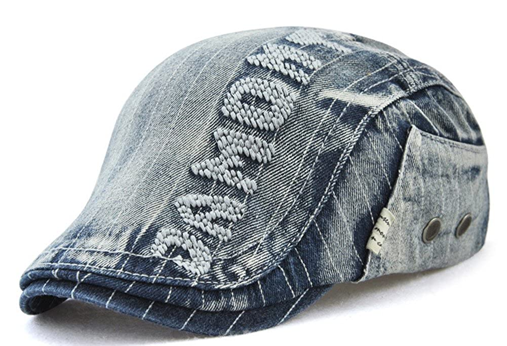 Roffatide Unisex Denim Embroidery Flat Cap Gatsby Newsboy Ivy Irish Hats Cabbie Driving Cap