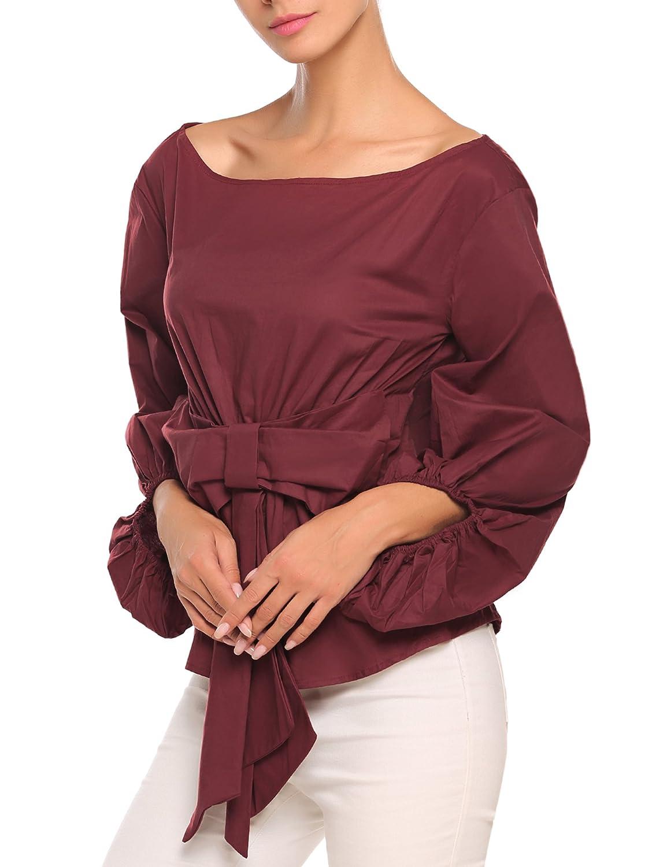 617a144203533 Zeagoo Women Off Shoulder Blouse Bow Waist-tie Top Ruffle Puff Sleeve Tunic  Shirt at Amazon Women s Clothing store