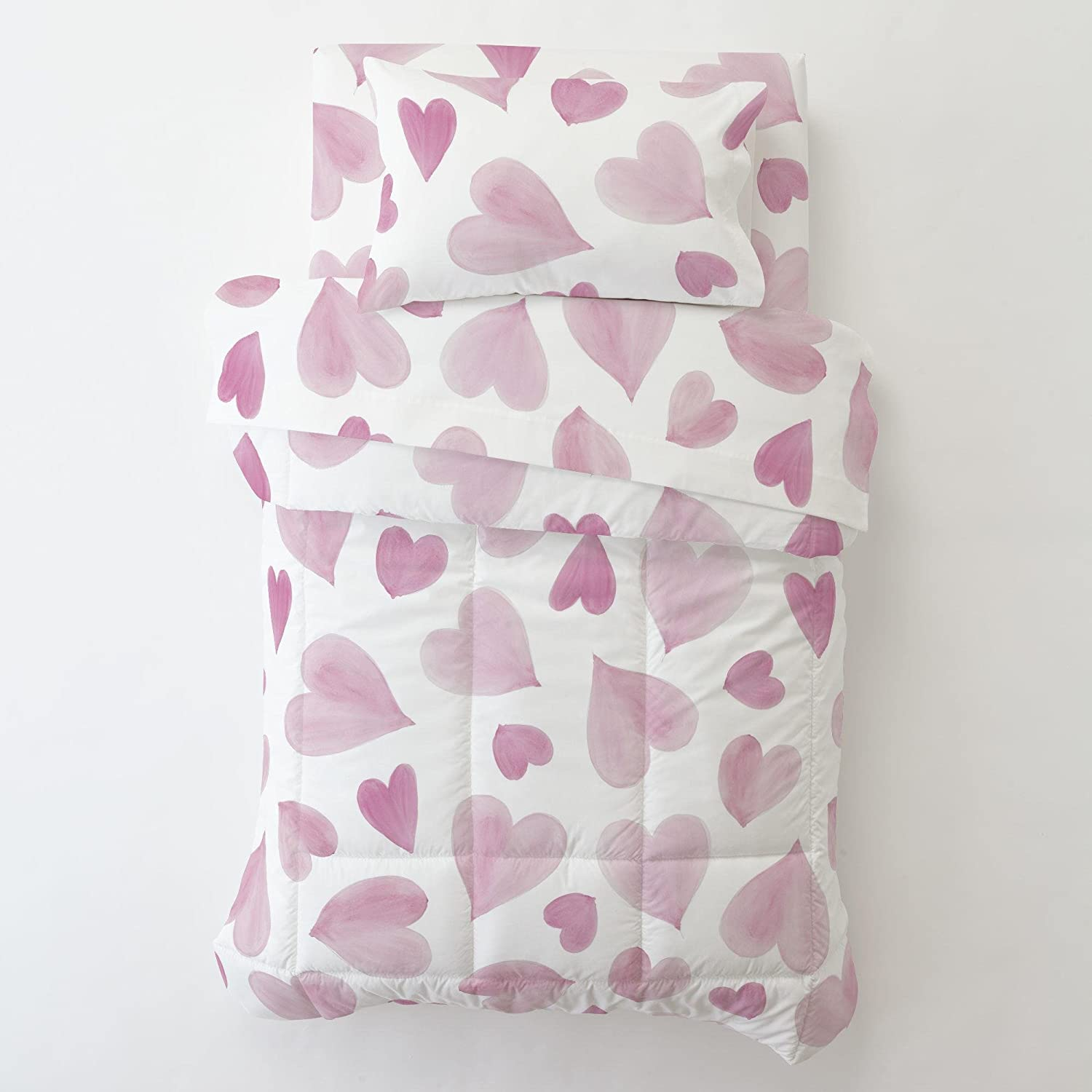 Carousel Designs Gray Watercolor Hearts Toddler Bed Comforter