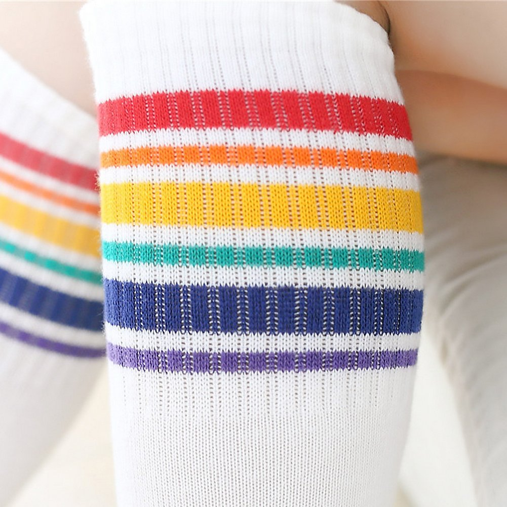 Butterme 1 Pairs Wei/ß Knie High Rainbow Striped Tube Str/ümpfe Socken Athletic Tube Socken Cotten Socken f/ür Kinder